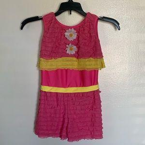 Revolution Dance Pink and Yellow Ruffle Costume